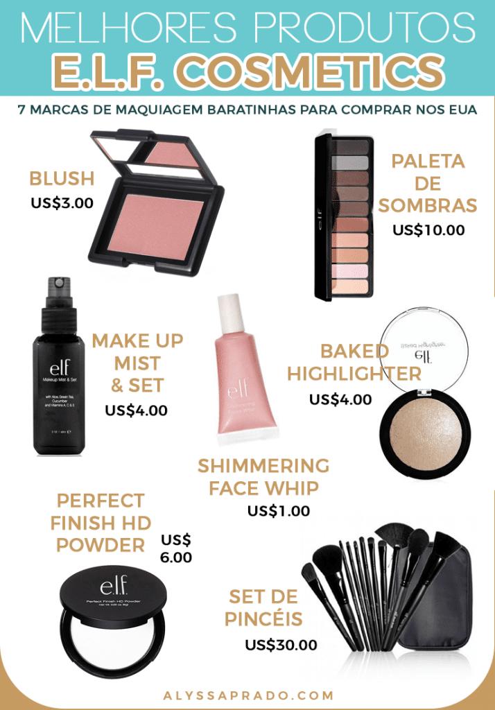 Descubra nesse post 7 marcas de maquiagem baratinhas para comprar nos Estados Unidos! Essa é a e.l.f., uma das mais baratas com produtos de ótima qualidade!