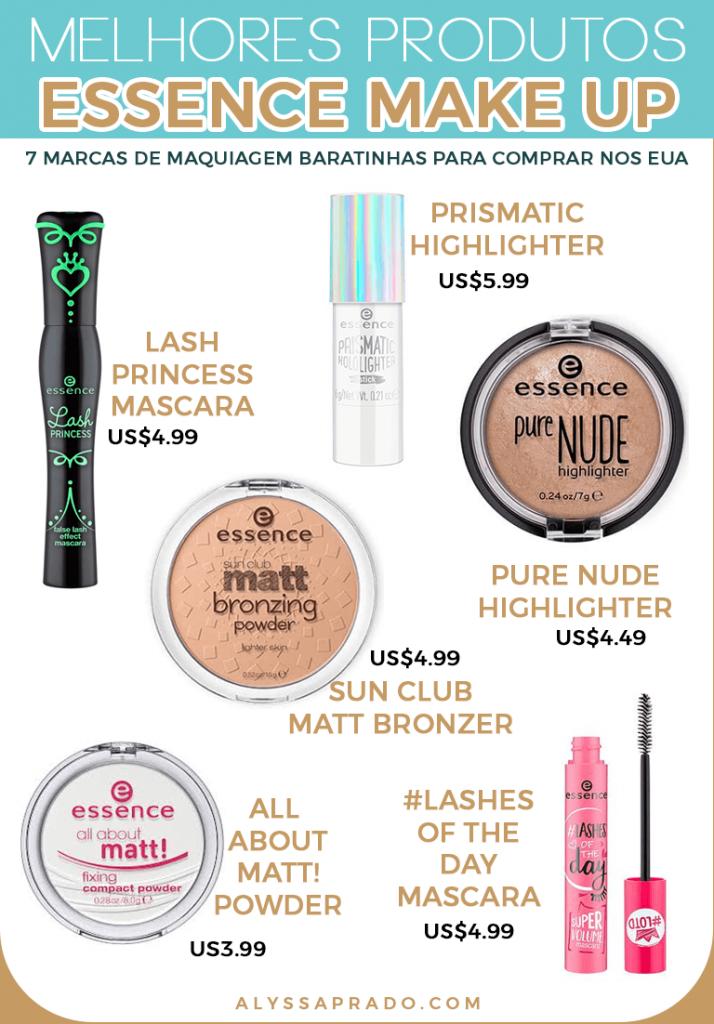 Os melhores produtos da essence Make Up! veja mais dicas de marcas de maquiagem baratinhas para comprar nos Estados Unidos nesse post!