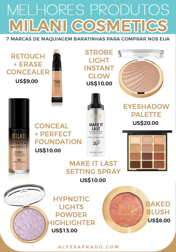 Os melhores produtos da Milani! Veja mais dicas dessa e outras marcas de maquiagem baratinhas para comprar nos Estados Unidos nesse post!