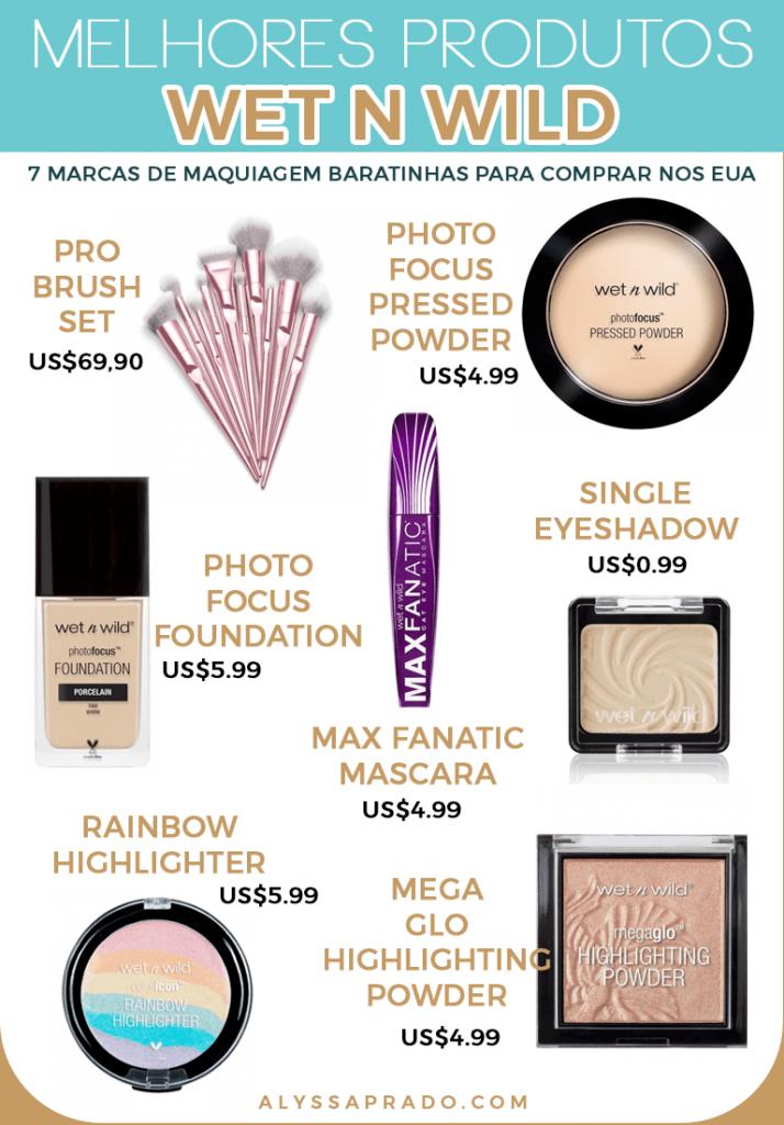 Leia mais sobre a wet n wild e outras marcas de maquiagem baratinhas para comprar nos Estados Unidos nesse post!