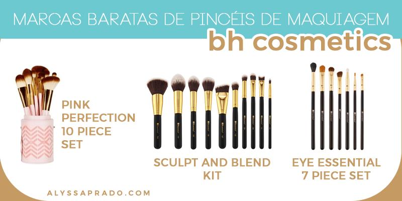 Descubra marcas baratas de pincéis de maquiagem nesse post! BH Cosmetics, Coastal Scents, Macrilan e mais!