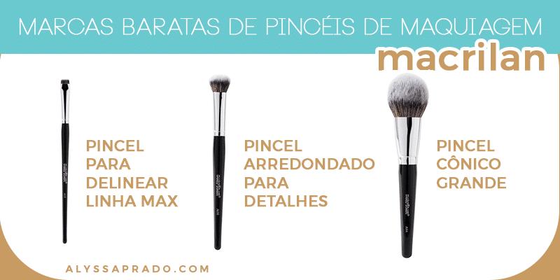 Conheça marcas baratas de pincéis de maquiagem nesse post! Macrilan, BH Cosmetics, wet n wild e mais!