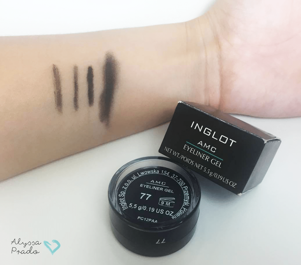 Swatches do delineador AMC Eyeliner Gel da Inglot