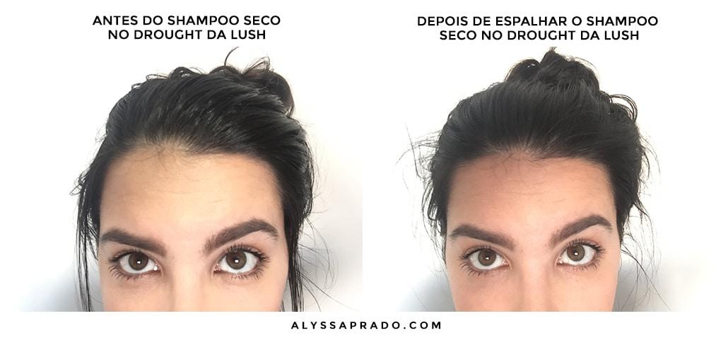 Antes e depois de usar o shampoo seco No Drought da LUSH! Com ótimo custo-benefício e cheio maravilhoso, você precisa conhecer mais sobre ele! Clique no link para ler a resenha completa!