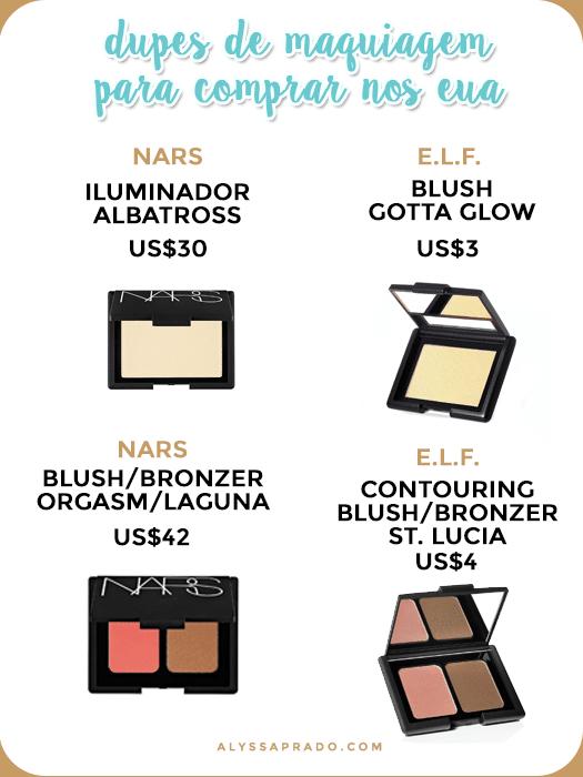 Quer comprar alguns produtos da NARS mas sem gastar tanto? Que tal essas alternativas mais em conta da e.l.f.? Clique no link e conheça outros dupes de maquiagem para comprar nos Estados Unidos!
