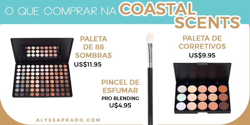 O que comprar na Coastal Scents: Pincéis e paletas, especialmente as de sombra e de corretivo! Clique no link e descubra 9 sites para comprar maquiagem nos Estados Unidos!