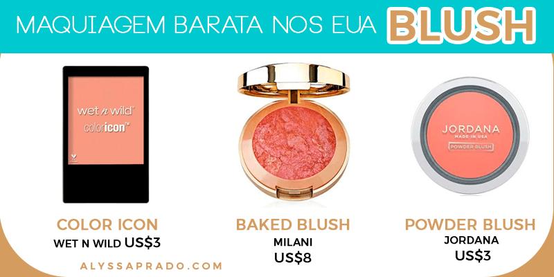 Descubra nesse post alternativas de blushes baratinhos para montar seu kit de maquiagem nos Estados Unidos sem gastar muito!