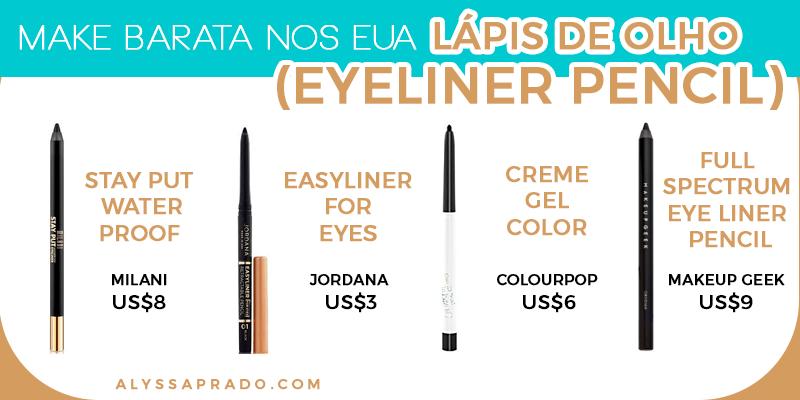Veja os melhores lápis de olho baratinhos para montar seu kit de maquiagem nos Estados Unidos!