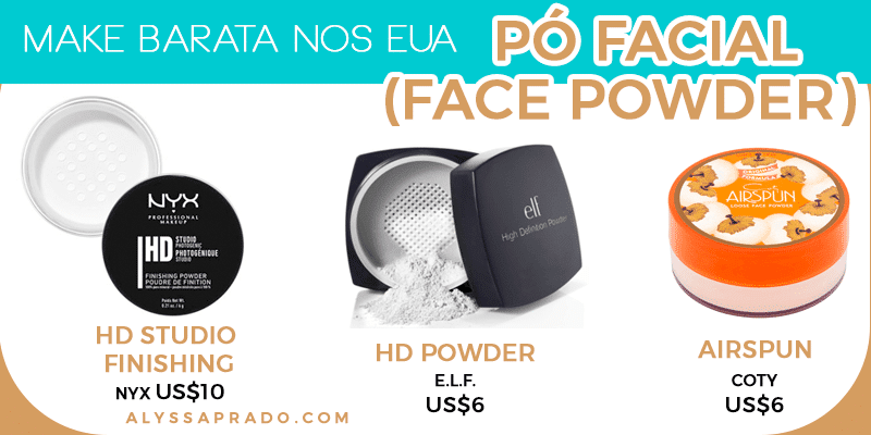 Descubra nesse post opções baratinhas de pó facial para montar seu kit de maquiagem nos Estados Unidos!