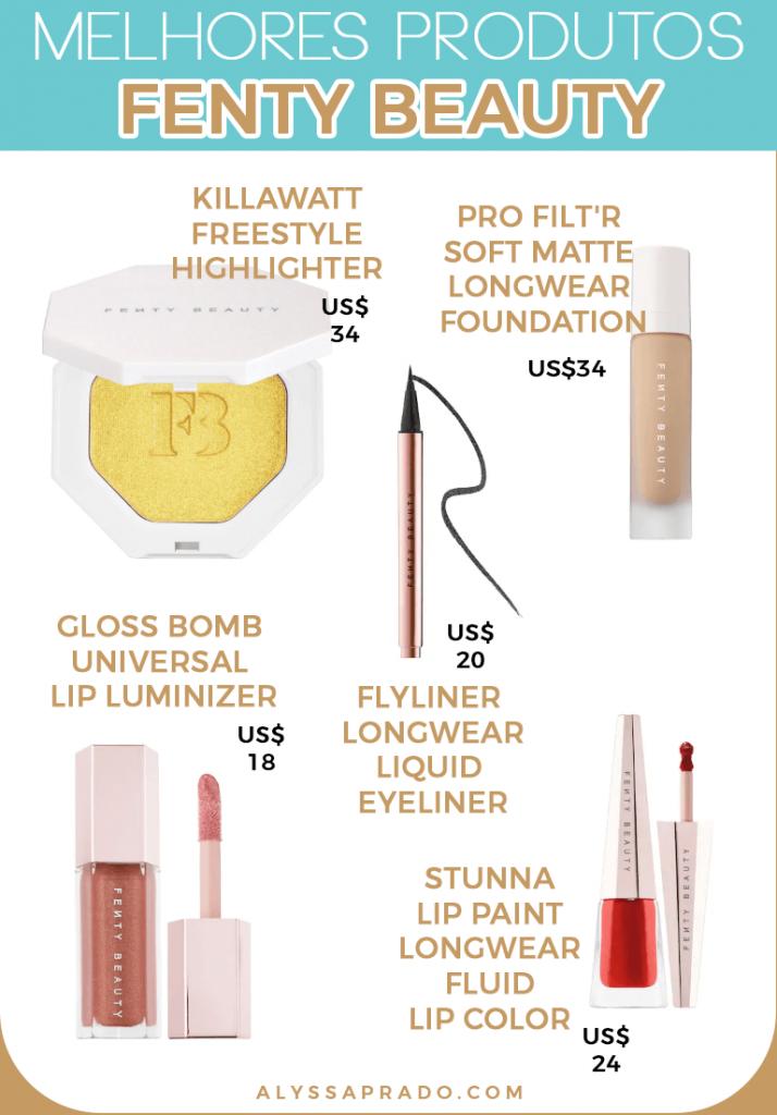 Conheça os melhores produtos da Fenty Beauty e de outras marcas de maquiagem dos Estados Unidos!