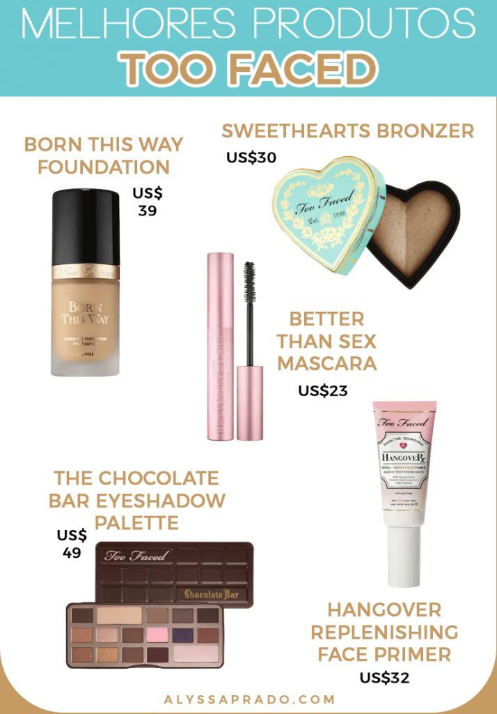 Veja os melhores produtos da Too Faced e de outras marcas de maquiagem dos Estados Unidos