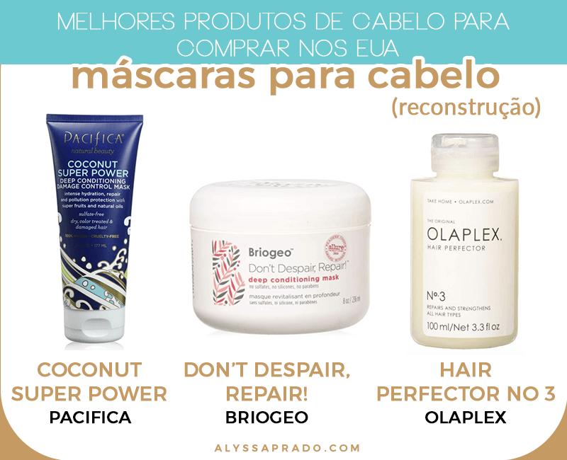 As melhores máscaras de reconstrução para o cabelo para comprar nos Estados Unidos! Veja esses e outros dos melhores produtos de cabelo para comprar nos EUA nesse post!