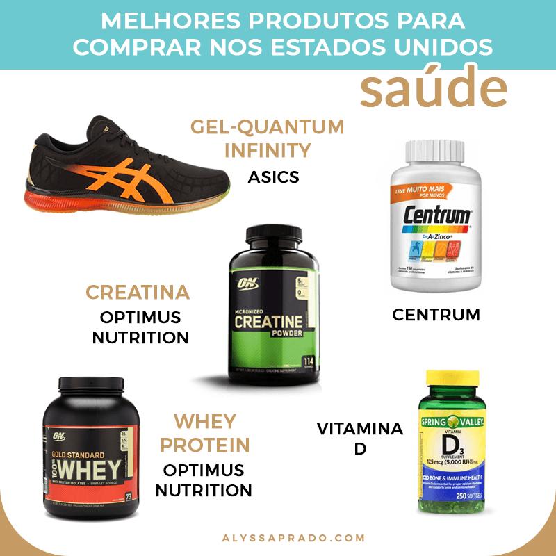 Descubra os melhores produtos de saúde para comprar nos Estados Unidos! Dicas de equipamentos esportivos, vitaminas e uma lista completa com o que comprar nos EUA!