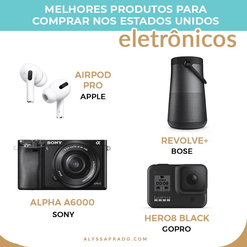 Descubra os melhores eletrônicos para comprar nos Estados Unidos nesse post! Dicas de câmeras fotográficas, caixas de som, fones de ouvido, smartphones, notebooks e muito mais!